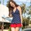พร้อมส่ง ชุดว่ายน้ำ Tankini เซ็ต 3 ชิ้น เสื้อสีน้ำเงินแต้มจุดขาว กระโปรงระบายสีแดงสวย (เสื้อTankini +บิกินี่+กระโปรง) thumbnail 1