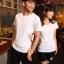 เสื้อยืดคู่รัก แฟชั่นคู่รัก ชาย + หญิง เสื้อยืดแขนสั้น เสื้อสีขาว สกรีนลายมือจับเอว +พร้อมส่ง+ thumbnail 4