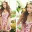 PRE ชุดว่ายน้ำวันพีซ สไตล์วินเทจ floral สวยๆ กระโปรงระบาย ด้านในเปนกางเกงขาสั้น thumbnail 4