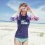พร้อมส่ง ชุดว่ายน้ำแขนยาว สีสันสดใส เสื้อโทนชมพูม่วง บิกินี่สีฟ้าสวยๆ thumbnail 4