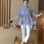 K114222 เสื้อคลุมท้องแฟชั่นเกาหลี โทนสีฟ้าสลับขาว thumbnail 5