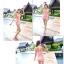 พร้อมส่ง ชุดว่ายน้ำวันพีซ สีโอรสแต้มลายจุดขาว ปลายแต่งระบายเล็กน่ารัก thumbnail 3