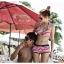 พร้อมส่ง ชุดว่ายน้ำทูพีซ สไตล์สปอร์ตกางเกงขาสั้น ลายเส้นสีแดงสลับขาวสวยๆ thumbnail 4