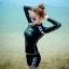 ชุดว่ายน้ำแขนยาว โทนสีดำแต่งขอบลายขาวสวย สกรีน WAVE SOME thumbnail 1