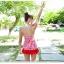 พร้อมส่ง ชุดว่ายน้ำวันพีซทรงแซก ลายเรขา สีแดงขาวสวยๆ กางเกงด้านในเป็นทรงบิกินี่ thumbnail 4