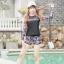 ชุดว่ายน้ำแขนยาว โทนสีดำ อกสกรีนอักษรน้ำตาลส้ม กางเกงลายสวย thumbnail 1