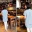 เสื้อเชิ้ตคลุมท้องคอปก สีฟ้าอ่อน ปักลายตัว R : SIZE XL รหัส SH043 thumbnail 3