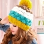 หมวกไหมพรมแฟชั่นเกาหลีพร้อมส่ง ทรงดีไซต์เก๋ แต่งจุกสีเหลือง หมวกลายขนมชั้นสีเหลืองน้ำเงินขาวกาแฟ thumbnail 1