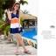 พร้อมส่ง ชุดว่ายน้ำทรงแซก เซ็ต 2 ชิ้น สายคล้องคอ สลับสีส้ม ขาว น้ำเงินสวยๆ thumbnail 8