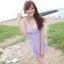 พร้อมส่ง ชุดว่ายน้ำวันพีซทรงชุดแซกสวย พื้นขาวลายสก็อตสีน้ำเงินแดง ด้านในเป็นบิกินี่ thumbnail 2
