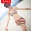 พร้อมส่ง ชุดว่ายน้ำบิกินี่ทูพีซ เซ็ต 3 ชิ้น ลายขวางสลับสีสันสวยมากๆ thumbnail 2
