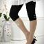 กางเกงเลคกิ้งขาสี่ส่วนแบบยางยืด ประดับมุก : สีดำ รหัส PN138 thumbnail 2