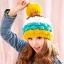 หมวกไหมพรมแฟชั่นเกาหลีพร้อมส่ง ทรงดีไซต์เก๋ แต่งจุกสีเหลือง หมวกลายขนมชั้นสีเหลืองน้ำเงินขาวกาแฟ thumbnail 2