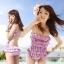 พร้อมส่ง ชุดว่ายน้ำวันพีซ Monokini สายเสื้อเดี่ยว แต่งระบายด้านหน้า หลังเว้าลึก น่ารักสไตล์เกาหลี thumbnail 1