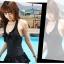 พร้อมส่ง ชุดว่ายน้ำสีดำ ทรงชุดแซก กางเกงแยกชิ้น ปลายแต่งระบายสองชั้น thumbnail 2