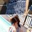 PRE ชุดว่ายน้ำคู่รัก ชุดว่ายน้ำบิกินี่ ลายโบฮีเมียนสีกรมท่า สายคล้องคอ พร้อมชุดคลุมลายสวย thumbnail 13
