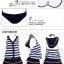 PRE ชุดว่ายน้ำคู่รัก ชุดว่ายน้ำบิกินี่ทูพีซ เซ็ต 4 ชิ้น สายคล้องคอ ลายทางสีน้ำเงินกรมท่าสวย พร้อมชุดคลุมเสื้อมีฮู้ด กระโปรงระบาย thumbnail 3