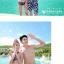 PRE ชุดว่ายน้ำคู่รัก ชุดว่ายน้ำบิกินี่ สายคล้องคอ ลายโซ่ขาว พื้นกรมท่าสวยๆ thumbnail 7