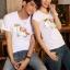เสื้อยืดคู่รัก แฟชั่นคู่รัก ชาย + หญิง เสื้อยืดแขนสั้น เสื้อสีขาว สกรีนลายม้าเงินนำโชค +พร้อมส่ง+ thumbnail 5