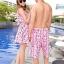 PRE ชุดว่ายน้ำคู่รัก หญิงเซ็ต 3 ชิ้น โทนชมพู บรา กางเกงแต่งระบาย พร้อมชุดคลุมสวย thumbnail 3