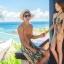 PRE ชุดว่ายน้ำคู่รัก หญิงวันพีซโมโนกินี่พิมพ์ลายสวย ชายกางเกงขาสั้นลายเดียวกัน thumbnail 6
