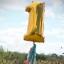 """ลูกโป่งฟอยล์รูปตัวเลข 1 สีทอง ไซส์จัมโบ้ 40 นิ้ว - Number 1 Shape Foil Balloon Size 40"""" Gold Color thumbnail 1"""