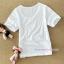 เสื้อยืดคลุมท้องคอกลม แขนสั้น : สีขาว รหัส SH015 thumbnail 2