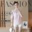 เสื้อแฟชั่นเกาหลีเย็บแต่งคอเสื้อน่ารักหวานๆ แขนเสื้อแต่งระบาย สีชมพู thumbnail 2