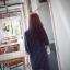 เดรส/เสื้อตัวยาวแฟชั่นเกาหลี ลายทาง ตัวเสื้อทรงเชิตเก๋ ๆ สีดำ thumbnail 4