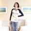 กางเกงคลุมท้องขายาว ลายขวาง : สีน้ำเงิน-ขาว รหัส PN098 thumbnail 2