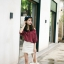 เสื้อแฟชั่นเกาหลี เว้าไหล่ ผูกใบว์ช่วงคอเสื้อ พิมพ์ลายจุดตามภาพ สีแดงเข้ม thumbnail 6