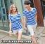 เสื้อคู่รัก ชายเสื้อยืดคอปก + เสื้อยืดคอปก แต่งเว้าไหล่ ลายสีฟ้าขาว +พร้อมส่ง thumbnail 3