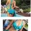 พร้อมส่ง ชุดว่ายน้ำทูพีชสีฟ้า บราแต่งโบว์ที่อก สายคล้องคอ กางเกงกระโปรงแต่งปลายระบายน่ารักๆ thumbnail 4