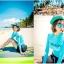 ชุดว่ายน้ำแขนยาว เสื้อสีฟ้า กางเกงขาสั้นสีดำ thumbnail 5