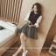 เสื้อแฟชั่นเกาหลีแขนยาว เย็บแต่งแขนด้วยผ้าชิฟฟอนสีขาว คอกลม สุภาพ thumbnail 4