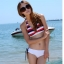 พร้อมส่ง ชุดว่ายน้ำ Bikini ผูกข้าง บราลายขวางสวย กางเกงสีขาวสายเชือกผูกข้างและมีซับในทั้งตัว thumbnail 3