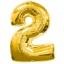 """ลูกโป่งฟอยล์รูปตัวเลข 2 สีทองไซส์เล็ก 14 นิ้ว - Number 2 Shape Foil Balloon Size 14"""" Gold Color 2 thumbnail 1"""