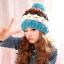 หมวกไหมพรมแฟชั่นเกาหลีพร้อมส่ง ทรงดีไซต์เก๋ แต่งจุกสีฟ้า หมวกลายขนมชั้นสีฟ้าขาวน้ำตาลแดง thumbnail 2