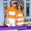 เสื้อคู่รัก ชายเสื้อยืดคอวี + หญิงเดรสคอกลม ลายส้มขาว แต่งลายดาวสีดำ +พร้อมส่ง+ thumbnail 2