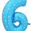 """ลูกโป่งฟอยล์รูปตัวเลข 6 สีฟ้าพิมพ์ลายดาว ไซส์จัมโบ้ 40 นิ้ว - Number 6 Shape Foil Balloon Size 40"""" Blue Color printing Star thumbnail 1"""