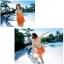 พร้อมส่ง ชุดว่ายน้ำบิกินี่ เซ็ต 3 ชิ้น สีส้มสดใส แต่งลายเส้นสวยสุดๆ พร้อมชุดคลุมแซก (บรา+บิกินี่+ชุดแซก) thumbnail 4