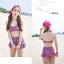 PRE ชุดว่ายน้ำเอวสูงเซ็ต 3 ชิ้น ลายสวยสีสันสดใส บรา กางเกงแต่งระบาย พร้อมเสื้อคลุม thumbnail 4