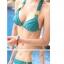 พร้อมส่ง ชุดว่ายน้ำบิกินี่ทูพีชสีเขียวเข้ม ที่บราและบิกินี่แต่งห่วงเหล็กสีทองฉลุลายสุดสวย thumbnail 7