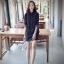 เดรส/เสื้อตัวยาวแฟชั่นเกาหลี ลายทาง ตัวเสื้อทรงเชิตเก๋ ๆ สีดำ thumbnail 1