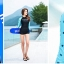 พร้อมส่ง ชุดว่ายน้ำแขนยาว พื้นสีดำแขนสีฟ้าลายหัวใจ กางเกงขาสั้นสีดำ thumbnail 5