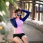 ชุดว่ายน้ำแขนยาวสีชมพู-น้ำเงิน กางเกงขาสั้นสีดำ thumbnail 1