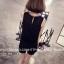 จั๊มสูทแฟชั่นเกาหลี แต่งคอเสื้อตามภาพ ช่วงตัวเสื้อและกางเกงทรงปล่อย สีดำ thumbnail 6