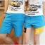 กางเกงคู่รัก ชาย + หญิงกางเกงขาสั้น แบบรูดซิบ ลายสีเรียบ สีฟ้า +พร้อมส่ง+ thumbnail 3