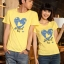 เสื้อยืดคู่รัก แฟชั่นคู่รั กชาย + หญิง เสื้อยืดแขนสั้น เสื้อสีเหลือง สกรีนลายหัวใจสีฟ้า +พร้อมส่ง+ thumbnail 2