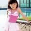 พร้อมส่ง ชุดว่ายน้ำเด็กผู้หญิง ชุดว่ายน้ำวันพีซ สีพื้น อกและกระโปรงแต่งระบายผ้าลายจุดสีสดใส น่ารักมาก thumbnail 1